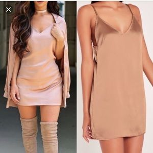 Carly bybel x misguided slip dress in dusty pink